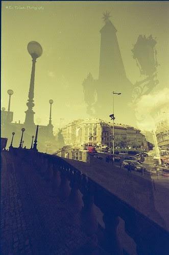 Redscale-MultipleExposure-Fisheye-Analogue-Prague
