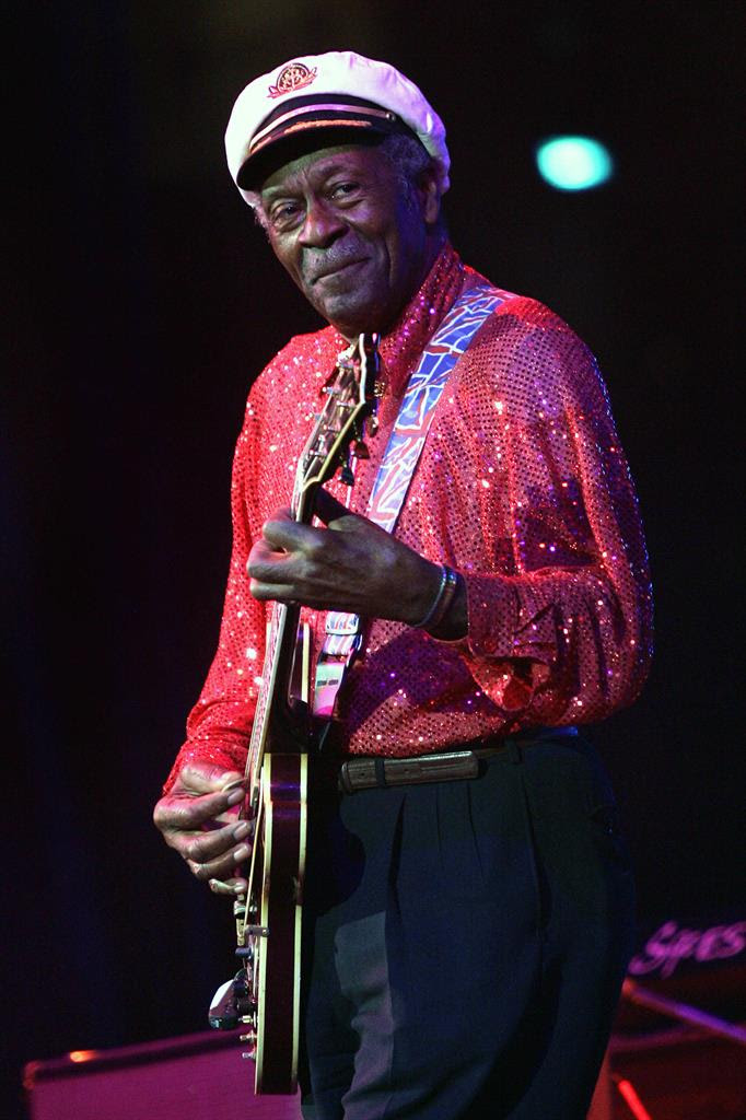 In this Saturday, May 30, 2009 file photo, Chuck Berry performs at The Domino Effect, a tribute concert to New Orleans rock and roll musician Fats Domino, at the New Orleans Arena in New Orleans. On Saturday, March 18, 2017, police in Missouri said Berry has died at the age of 90.