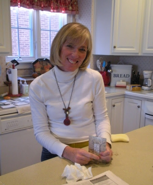 "Hello…Today is ""Sister Day"", at least for one of my sisters(I have two). Today is about Jill Schaefer, my little sister who lives in Western Springs, Illinois with her husband Marty and her four(count them four) children. She is quite a sparky little firecracker. Her energy is boundless…raising my niece and nephews, community volunteerism and successful artist and entrepreneur. She makes charming decoupage plates with humorous and/or heartfelt quotes on them. She works late into the night to keep up with the demand. On Tuesday she is hosting a home show featuring her and seven talented artists. She opens up her home and it becomes a magical shop with decorative displays.So, if you are in the area…or heck even if you have to fly in, you should stop by to visit and shop. I hear that there will be many tempting items to choose from, plus there will be tasty party snacks and festive beverages. Can you tell how proud I am of my little sister? Tuesday April 12th   6:00-9:00 Wednesday April 13th   10:00-3:00 4469 Franklin Avenue Western Springs, Illinois Have sharing your sister with friends fun,  Jody The family photo is quite old, so Walt, Ben, Lucy and Jack…my apologies. Trust me, they have all gotten taller…well, not Jill or Marty"