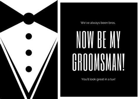 Black and White Tuxedo Wedding Groomsmen Card   Templates