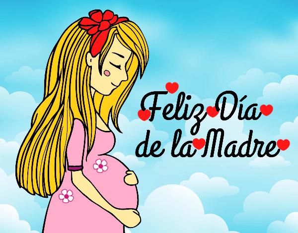 Dibujo De Mama Embarazada En El Dia De La Madre Pintado Por
