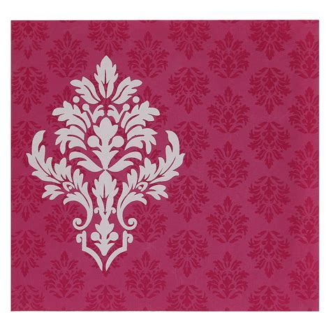 Exquisite Indian Wedding Card In Deep Pink And Golden
