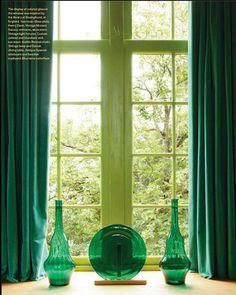 I love this green curtain combo from Veranda