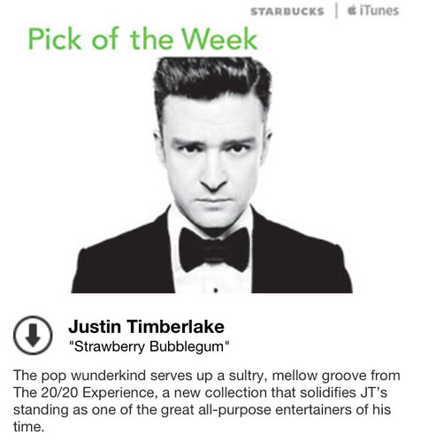 Starbucks iTunes Pick of the Week - Justin Timberlake - Strawberry Bubblegum