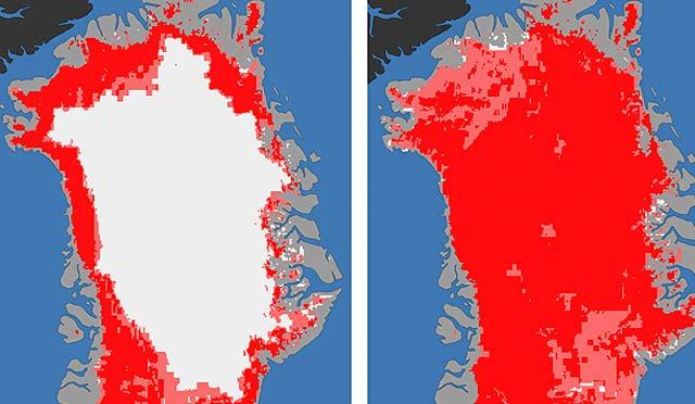Imagen de la superficie de Groenlandia con hielo y sin él. | NASA