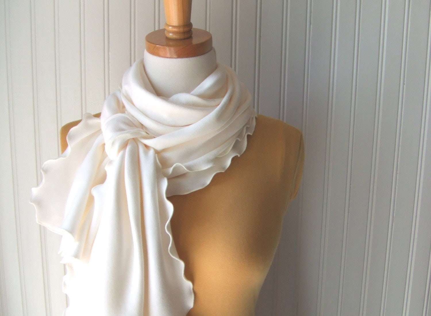 Vanilla Cream Ruffle Scarf - Cotton Jersey Ruffled Scarf in Ivory - Fall Autumn Fashion Gift Under 20 - JannysGirl
