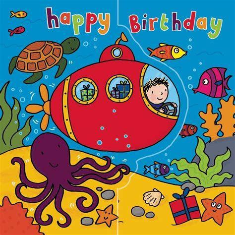Submarine Birthday Card Sparkly Card Pop Out Card TW194