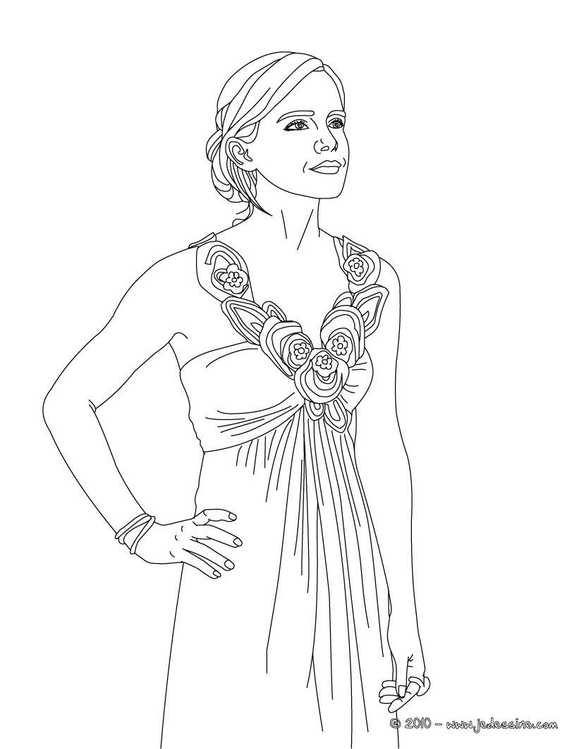 fée robe printemps  colorier Coloriage Emma Watson belle robe  imprimer