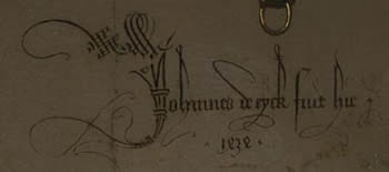 Portrait of Giovanni(?) Arnolfini and his Wife (detail of signature and date), Jan van Eyck