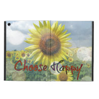 Choose Happy Quote with Sunflowers iPad Air Cover