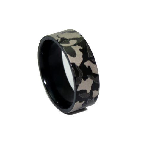 #1 CAMO Black Ring   Laser Engraved Camouflage Wedding Band