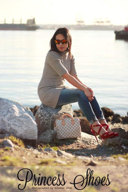 Gap Always Skinny Distressed Skinny Jeans, Old Navy turtleneck sweater dress, Jimmy Choo Vamp sandals, Zara mirrored sunglasses, Louis Vuitton Damier Azur Speedy, Mackage coat, fashion, style, Vancouver, winter