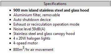 Franke Island Hood Specs