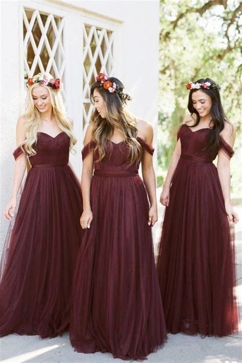 2018 Burgundy Bridesmaid Dresses Country Style Off