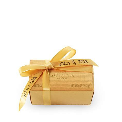 2 pc Wedding Favor with Personalized Gold Ribbon   GODIVA