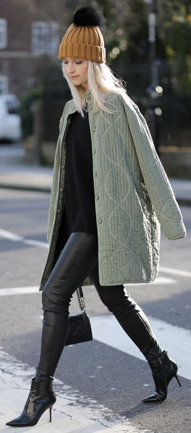 Ganni Patterned and structured Green Coat