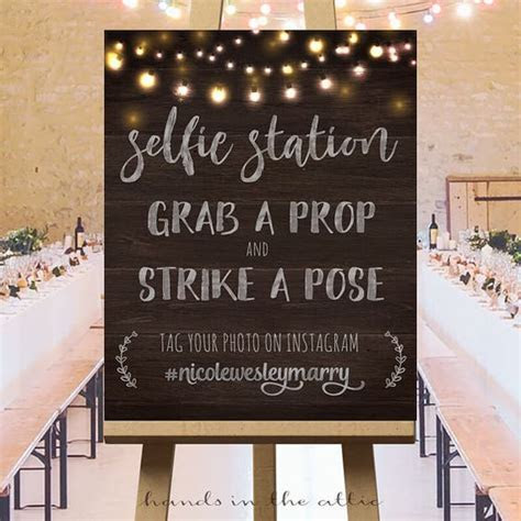 Wedding photos instagram, wedding hashtag sign, selfie