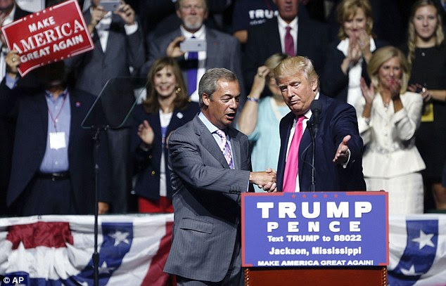 Trump, right, was joined on stage by controversial British politician Nigel Farage, left, who campaigned on behalf of the UK leaving the European Union earlier this summer