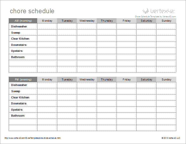 Kids Chore Schedule Template