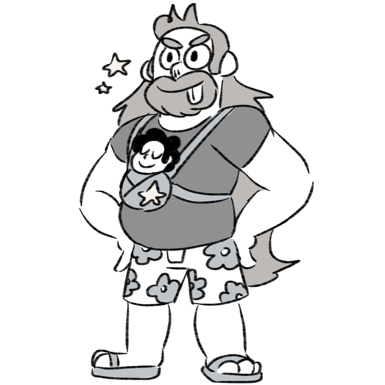 quick doodle of best dad and a tiny steven