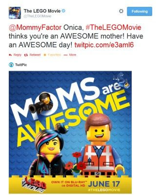 The LEGO Movie Mothers Day Tweet