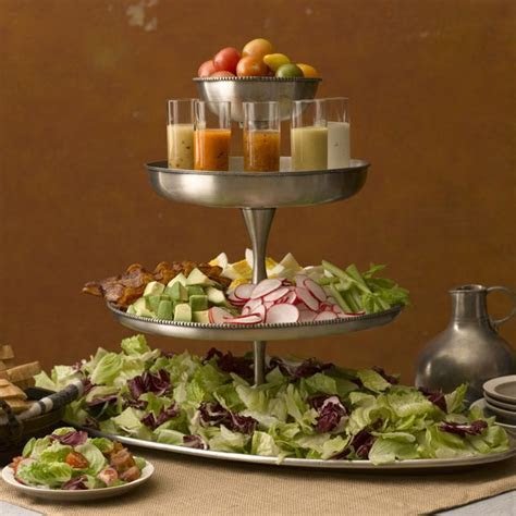 Tiered Salad Bar. like the serving of dressing in small