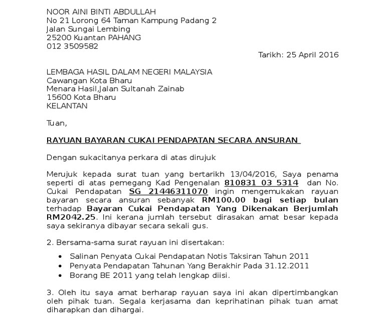 Contoh Surat Rayuan Untuk Perkeso Jalan Morin