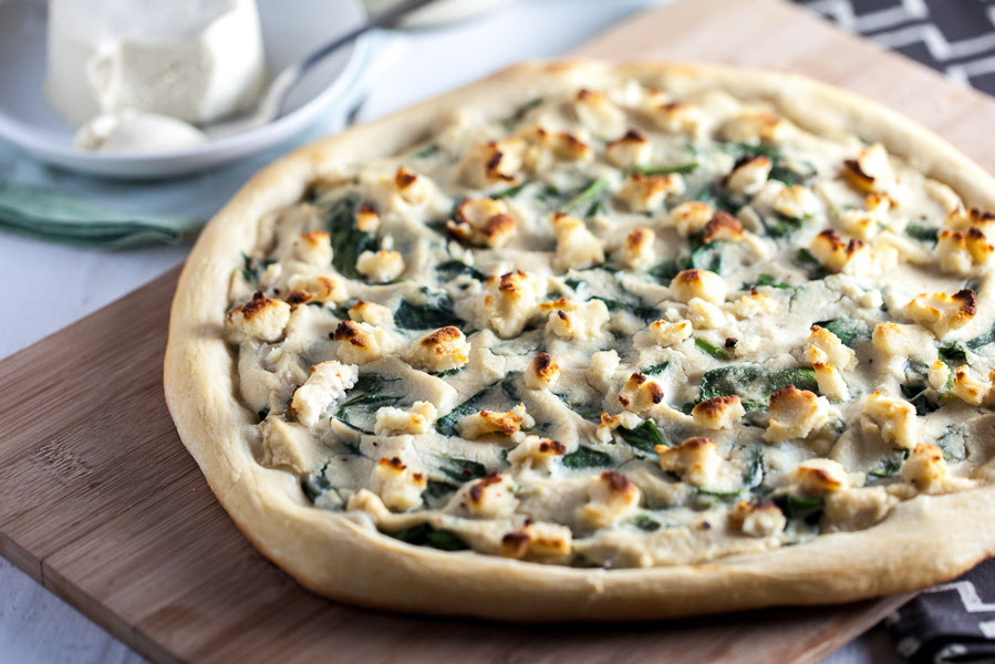 Roasted Garlic White Pizza with Macadamia Ricotta Salata & Spinach
