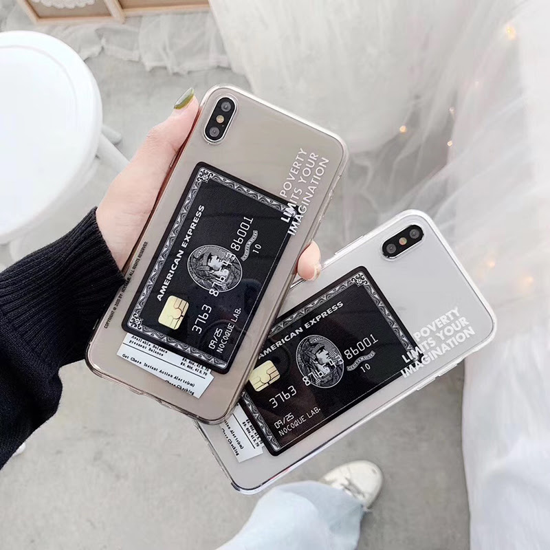Hot American Express Card label case for iphone 6 Pro X XR XS Max 6 6 plus  Luxury Transparent Soft silicon phone cover capa