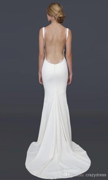 White backless evening dresses