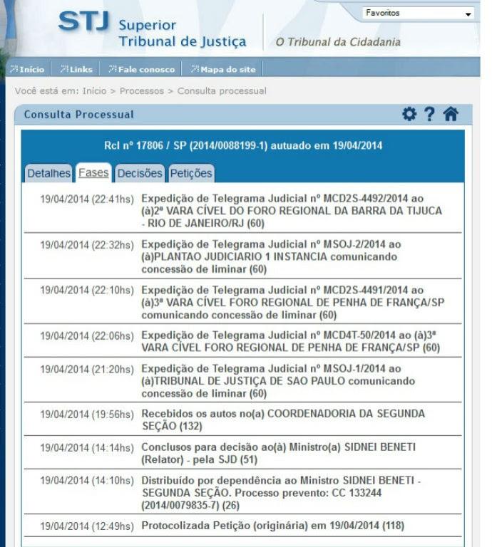 Decisão do STJ sobre a liminar obtida por torcedor da Lusa em São Paulo (Foto: reprodução)
