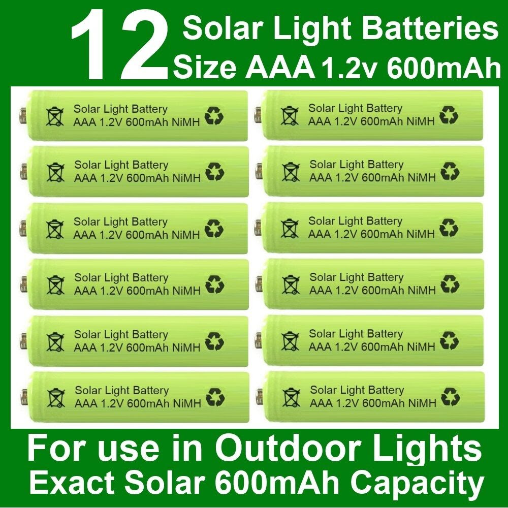 12 x AAA Solar Light Batteries 1.2V 600mAh NiMH for Outdoor Garden Lights UK  eBay