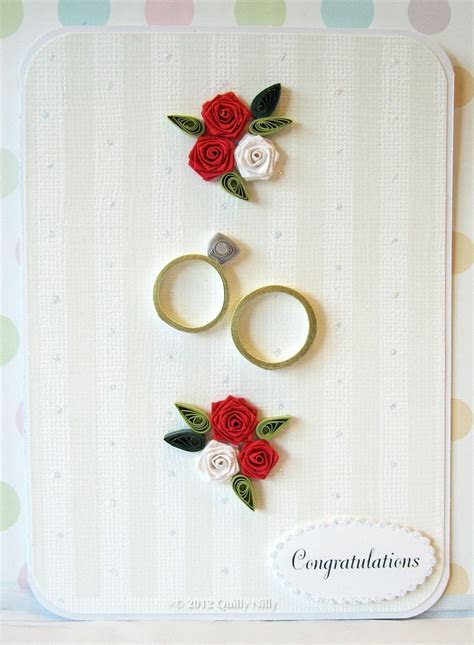 Paper Quilled Wedding, Anniversary Rings Card. $7.25, via