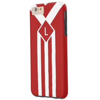 White Stripes and Chevrons on Red with Monogram Tough iPhone 6 Plus Case