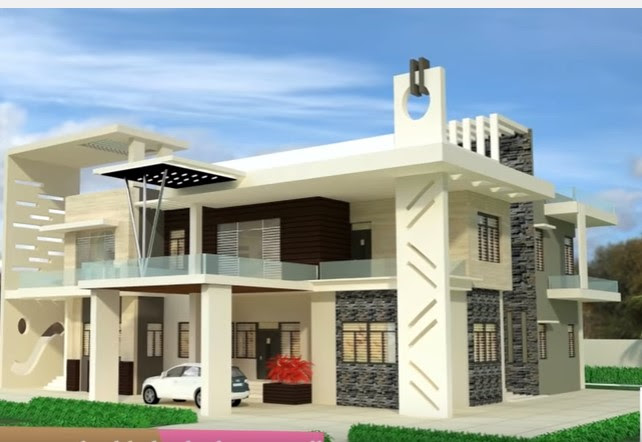 White Indian Bungalow Beautiful House Design Glass Balcony Gray