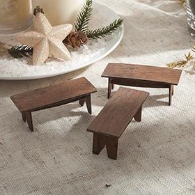 Set de 3 asientos de madera