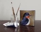 Barn Swallow bird art block, mini canvas painting, songbird art 4x4 original - BirdsinHand
