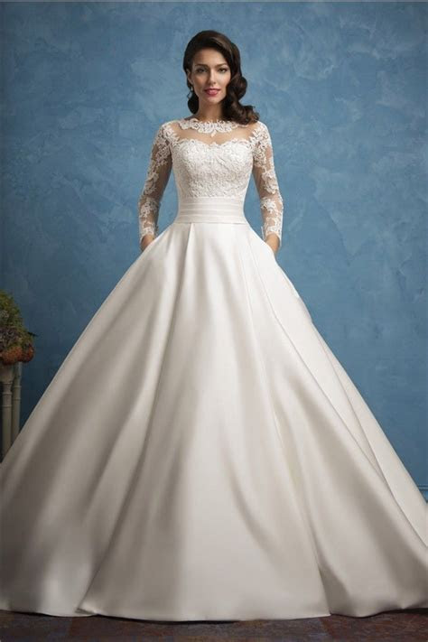 Roayl Ball Gown Illusion Neckline Long Sleeve Lace Satin
