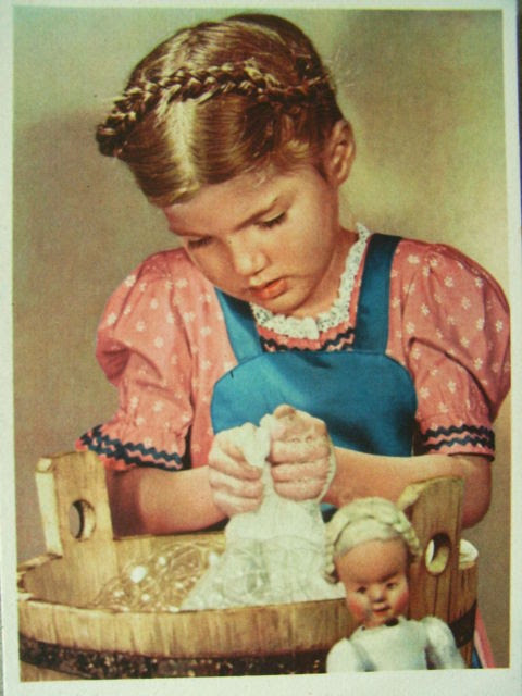 Orig. German Postcard WW2: Young Girl Washing + Doll