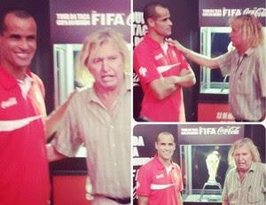 Rivaldo homenageia Marinho Chagas (Foto: Reprodução)