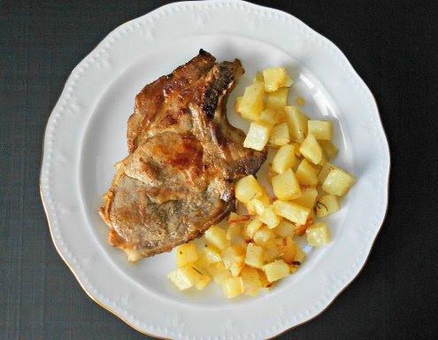 Chuletas de cerdo con mostaza y miel