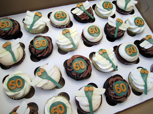 60th Birthday Dragonfly Cupcakes