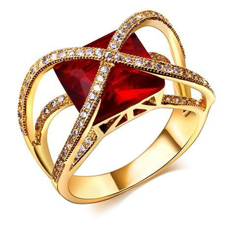 18k Gold filled jewelry Red Green stone rings Women finger