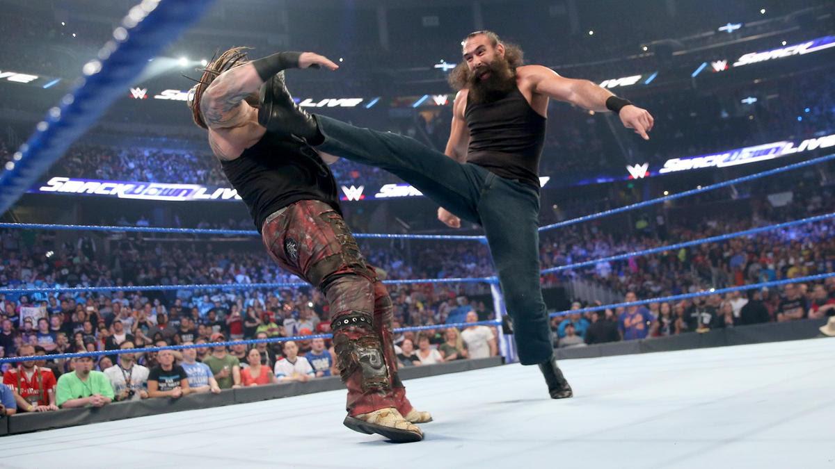 Harper drills Wyatt with a big boot.