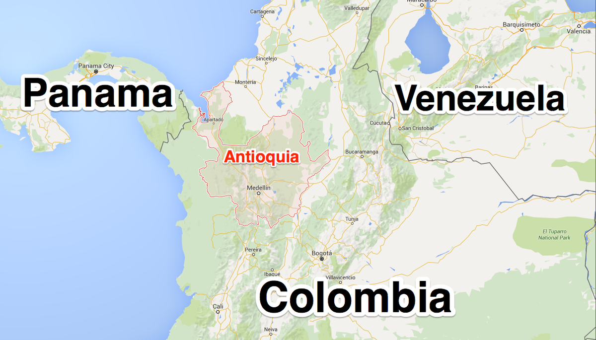 Antioquia, in red, links central Colombia to trafficking routes in Central America and the Caribbean. Pablo Escobar's Medellin cartel was based out of the city of the same name, where he was killed in 1993.