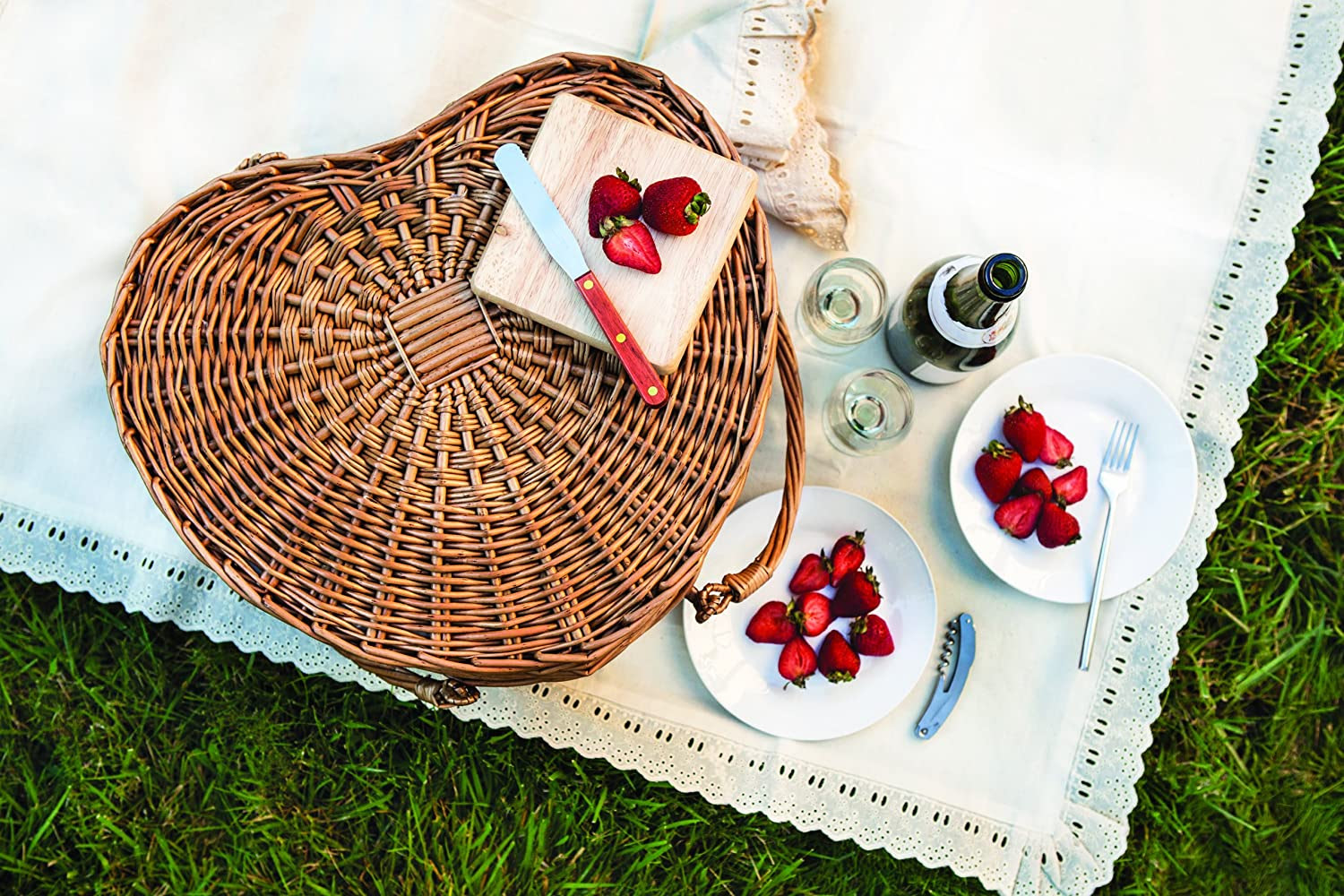 Wine and Cheese Willow Picnic Basket for Two