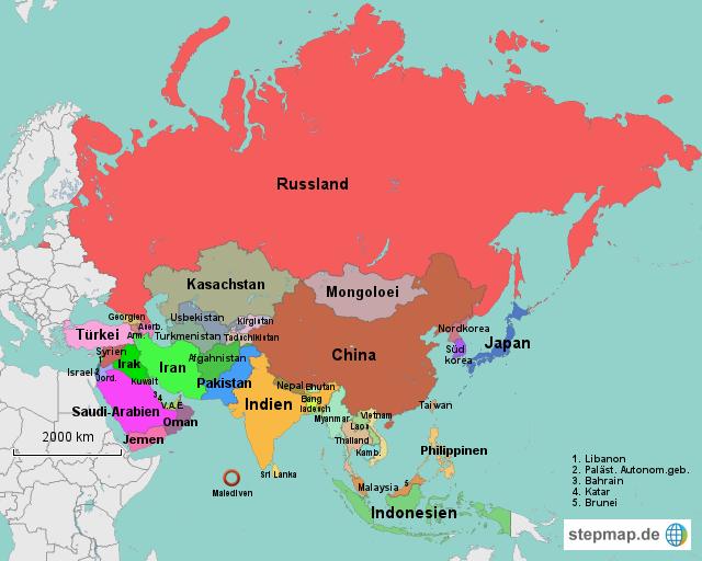 Politische Karte Asien.Karte Asien Karte