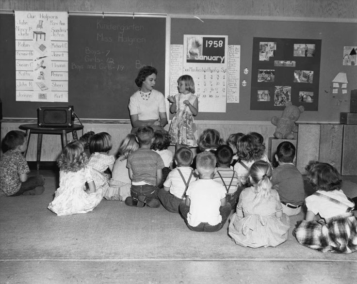 Kindergarten, 1958  Things haven't changed that much!  Looks like calendar time.