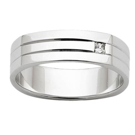 flat top mens wedding ring  diamond