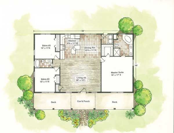 santa fe house plans designs Home Plans, House Plan, Courtyard Home